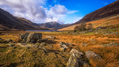 Rugged... (L A H Photography) Tags: landscape landscapephotography snowdonia wales cymru rugged mountains sky clouds rock grass wideangle nikon d7200 sigma 1020mm contrast orange mountain