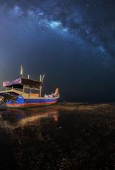 Boat under the Milky way (Ah Wei (Lung Wei)) Tags: beach boats defish fisheye georgetown georgetownpenang gertaksanggul landscape malaysia milkyway nature penang penangisland pulaupinang samyang samyang12mmf28edasncsfisheye samyang12mmf28 bayanlepas my