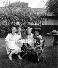 Tea party with a cowgirl (vintage ladies) Tags: people portrait blackandwhite female woman lady vintagelady vintagewoman pretty lovely beauty girl girls garden children cowgirl tea teaparty teacup smile smiling laugh laughing