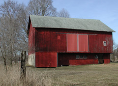 """""""When the farmer was king..."""" (LivGreen07) Tags: sweitzer barn red farm building wood forebay michigan tree fence post sky"""