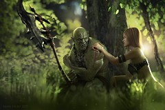 A time for healing (Mark Frost :)) Tags: 3d cg cgi render daz studio orc creature warrior armour axe tree leaves leaf green grass woods meadow light sun sunshine wound blood cut woman sorceress female girl friend heal healing