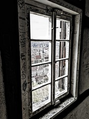 Writings on the Window (DrQ_Emilian) Tags: window view writings wooden old historical messages city town castle burg overlook rooftops light details blackwhite monochrome travel visit explore discover esslingen stuttgart badenwürttemberg germany europe photography hobby indoors smartphone huawei mate10lite emylyan