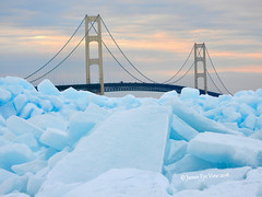 Mighty Mackinac Bridge (JamesEyeViewPhotography) Tags: greatlakes michigan mackinac bridge blue ice sunset landscape winter frozen water waves sky clouds march lakemichigan lakehuron nature northernmichigan upperpeninsula snow