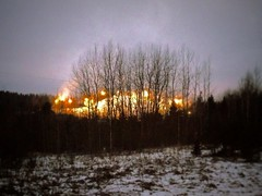 Hehkuva mäki - Blazing Hill (Lauri S Laurén) Tags: art artphoto photoart outsiderartist laurilaurén suomi sipoo sibbo talma tallmo uusimaa tree trees snow winter hill scenery landscape afterprocessing afterprocessed sky talvi blur yellow brown white grey dark dusk