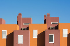 Brown and orange houses (Jan van der Wolf) Tags: map16813v orange oranje brown bruin herhaling repetition windows ramen architecture architectuur houses huizen grancanaria crucedearinaga shadow shadowplay