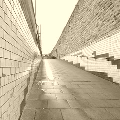 Former platform access ramp, Sheffield Victoria station.     March 2018 (dave_attrill) Tags: sepia platform access ramp tiled walkway green white tiling sheffield victoria station remains site railway disused demolished closed february 2017 great central gcr lner mslr electrified woodhead manchester piccadilly passenger services 1970 goods 1981 beeching report cuts stocksbridge steel works single track line oughtibridge wadsy deepcar penistone neepsend bridgehouses barnsley huddersfield local 1983 class 26 76 electric locomotive tommy master cutler pullman royal hotel holiday inn the navigators film 2003 hs2 plan pedestrianramp carpark