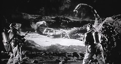 """Scott and Ramos witness a battle between giant bugs in """"The Black Scorpion (1957) (lhboudreau) Tags: movie motionpicture film classicsciencefictionmovie sciencefictionfilm sciencefiction scifi classicsciencefiction classicscifi monster threat screenshot monstermovie monsterfilm 1950s giantinsects animal blackandwhite blackwhite featurefilm giganticinsects scarymovie matteeffects matte gigantism gigantic giantism monochrome 1957 warnerbros warnerbrothers warner edwardludwig jackdietz frankmelford beast beasts monsters blackscorpion theblackscorpion giant specialeffects stopmotion stopmotionanimation animation obrien willisobrien petepeterson creatures creature scorpion scorpions creaturefeature sfx vfx visualeffects people retro vintage richarddenning carlosrivas cave nest cavern scientists geologists battle mexico rock insect insects bug bugs bigbug"""