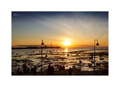 ... (ángel mateo) Tags: ángelmartínmateo ángelmateo cádiz andalucía españa playa lacaleta andalusia spain atardecer puestadesol sunset luz light balneariodenuestraseñoradelapalmaydelreal balneariodelacaleta arena sombra castillo castillodesansebastián faro sol reflejos calma orilla barco barca farolas mástil gente terraza bajamar mareabaja cielo nubes horizonte lighthouse sun reflections calm shore boat lampposts mast people terrace lowtide sky clouds