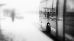 (blazedelacroix) Tags: snow winter cold bus walk station stockholm blazedelacroix bw monochrome theword blur rx100 inbetweendays t standing