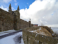 St Andrews Cathedral and the Pends, 2018 Feb 28 (Dunnock_D) Tags: uk unitedkingdom britain scotland fife standrews snow sea northsea pends cathedral wall path cliff blue sky white cloud