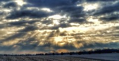 when angels call... (BillsExplorations) Tags: sunrise morning angels heavenly light beams sky clouds illinois rockrivervalley countryskies country field landscape