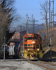 BTNC at Harmony (GLC 392) Tags: harmony btnc buffalo pittsburgh pa pennsylvania new castle emd sd45 gp40 458 bprr 302 allegheny railroad railway train tree aly sd452 bridge city