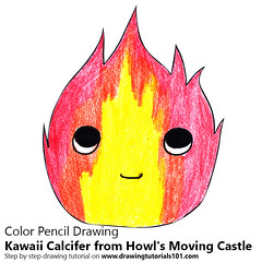 Kawaii Calcifer from Howl's Moving Castle (drawingtutorials101.com) Tags: kawaii calcifer from howls moving castle characters character cartoons cartoon how draw color pencils drawings sketch drawing with pencil