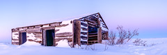 Sunset in Tuktoyaktuk (My First in Explore!) (Kristaaaaa) Tags: stitched panorama pano arctic cold harbour ice north northern nothwestterritories outside sky snow sun sunset tuktoyaktuk winter colour colourful color cabin building abandoned old canada cans2s fuji fujifilm fujixt2 fujix fujilove explore sunlight light pink dusk