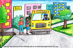 Going to School Scene (drawingtutorials101.com) Tags: going school scene scenes color pencil pencils scenery sketching bus students sketch sketches draw drawing drawings colors how speed