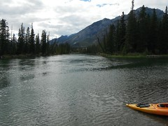 Tranquility ... (Mr. Happy Face - Peace :)) Tags: canoe bowriver yyc art2018 banff alberta canada cans2s archives scenery forest trees river landscape rockies nature cloud adventures boating outdoors acitivities artistview