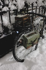 Minuit Après l'Équinoxe (Shu-Sin) Tags: midnight after equinox spring nyc brooklyn new york city snow storm night time nighttime bicycle trees road cold white swiss army surplus bags panniers handlebar bag porteur