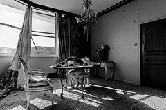 """""""When a life is over, the one you were living for, where do you go?"""" (sadandbeautiful (Sarah)) Tags: me woman female self selfportrait abandoned resort penthouse bw decay abandonedresort monochrome annesexton"""