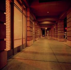 San Jose (bior) Tags: sanjose downtownsanjose longexposure night downtown hasselblad500cm distagon lomochromepurple lomography purple lomopurple mediumformat 120 6x6cm corridor sidewalk street
