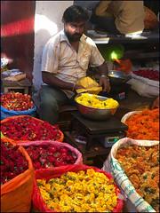 Mysore - Marché aux Fleurs (Christian Lagat) Tags: inde india karnataka mysore mysuru devaraja marché market homme man vendeur seller fleurs flowers lumière light couleurs colours iphonese phone smatphone