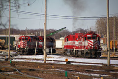 L863 power heads to the tie-up track while another power set idles (AndyWS formerly_WisconsinSkies) Tags: train railroad railway railfan wisconsinandsouthern wsor watco wamx emd gp392 sd402 locomotive