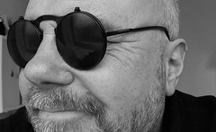 Steampunk shades. (CWhatPhotos) Tags: cwhatphotos man male me selfie self black white mono smile closeup face steampunk sun glasses shades beard portrait olympus penf pen lumix g20mm f17 mk ii g 20mm prime lens photographs have it photograph pics pictures pic picture image images foto fotos photography artistic that which contain digital