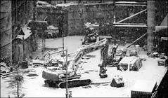 Snowy Construction - Fort Greene, Brooklyn, NYC (TravelsWithDan) Tags: snow snowfalling construction buildingsite bw blackandwhite brooklyn nyc newyorkcity fortgreene canong3x city urban outdoors winter weather ngc