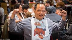 Muscle man donning a bib, how embarassing. (kuntheaprum) Tags: louisianaseafood louiloui seafoodrestaurant lobster clam garlicnoodle shrimp nikon d5300 sigma sigmaart 50mm f14