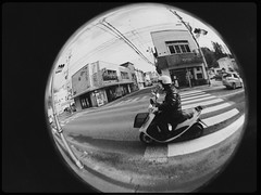 A scooter in the closed world (U-ichiro1003) Tags: street snap iphonese hipstamatic wide lens fisheye