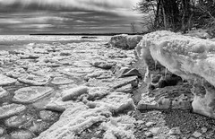 Newport Beach- (Renn's pics) Tags: door county newport state park winter sony a77ii 18135mm lake michigan hiking europe lakehotz loop trail black white mono wisconsin ice snow rocks beach shoreline pancake sunday weekend