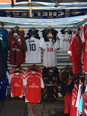 Premier City (My photos live here) Tags: london capital city england camden lock town high street market stall football shirts arsenal spurs chelsea scarf iphone 5s urban building