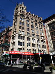 McIntyre Building Tower on 18th St and 874 Broadway NYC 8403 (Brechtbug) Tags: mcintyre building tower 18th street 874 broadway nyc 2018 new york city architecture gargoyles gargoyle art traffic evening ne st corner was built 1892 by prominent architect r h robertson 1970s cluster artists moved 7th floor housed an illegal nightclub called the cobra club with snakes kept glass terrariums 70s some were found roaming years later snake