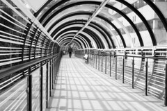 Going In (simonannable) Tags: qmc fujifilmxt1 modern contemporary futuristic vanishingpoint mono blackandwhite image stripes stripy modernistic nottingham architecture fujifilm27mm