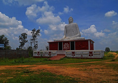 """The mind is everything. What we think, we become."" - Buddha (Abeer!) Tags: buddha buddhist buddhism bolpur bengal westbengal india abeer abeerbarman architecture blue clouds field green grass sky sculpture"