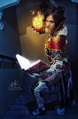 Fotocon 2017: Haylin Cosplay as Human Mage from Lineage 2, by SpirosK photography - fire spell (SpirosK photography) Tags: haylin haylincosplay cosplay costumeplay portrait fantasy spell spellcasting game videogame videogamecharacter lineage2 lineageii humanmage human mage palace strobist stairs steps fire flame magic