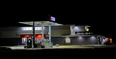 Midnight Gas (Tim @ Photovisions) Tags: station gas fuel gasstation truck car night building