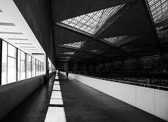 (cherco) Tags: station zaragoza delicias train triangle triangulos arquitectura architecture lonely solitario solitary silhouette silueta shadow street shadows sombras windows vanishingpoint fuga blackandwhite blancoynegro composition composicion canon city ciudad calle monochrome urban