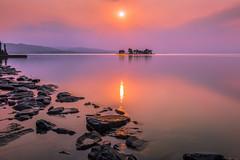 sunset 8031 (junjiaoyama) Tags: japan sunset sky light cloud weather landscape pink purple color lake island sun water nature winter calmness reflection rocks