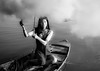 Like an Angel (Cyrsiam) Tags: thai dream angel lady girl sexy woman boat floating market black white smoke umbrella romantic