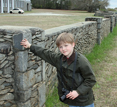 granitecamera (FAIRFIELDFAMILY) Tags: jason taylor carson greenbrier school winnsboro fairfield county sc south carolina granite wall fence building architecture design historic child boy young outside exploring explore michelle ralph lauren barn coat jacket vintage old barbour waxed english easter bunny costume father son train rail railroad gene baughman darren long roddy column tim mccarty nick depace 50 birthday party reunion