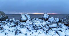 Snow on the Rocks (Paul Rioux) Tags: winter snow cold waterfront water sea ocean seascape seashore rocks morning sunrise clouds prioux french creek