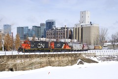 Just a bit southwest of downtown (Michael Berry Railfan) Tags: gp9 cn canadiannational train freighttrain montreal sthenri quebec lachinecanal cn7226 cn7075 eastsidecanalbank
