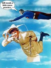 "SUPERMAN : 'LOOK ! UP IN THE SKY ! IT'S  A BIRD ! IT'S A PLANE ! IT'S A ... NUN?"" (DarkJediKnight) Tags: superman flyingnun sistr sr bertrille sallyfield georgereeve humor parody spoof fake"