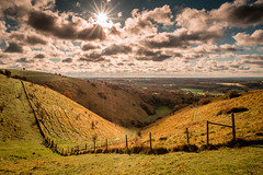 The Devils Kneading Trough, Kent (Nathan J Hammonds) Tags: devils kneading trough winter rolling hills nikon d750 sky clouds irex 15mm view cold chilly colour valley fence grass field landscape burst kent sun nature reserve uk britain england