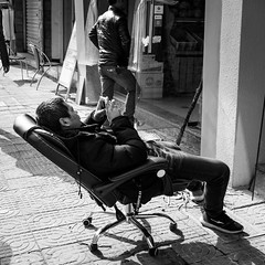 Living room (Go-tea 郭天) Tags: hangzhoushi zhejiangsheng chine cn linan man candid seat seated seating chair office relax relaxing alone lonely rest resting phone mobile cellular cell connected connexion data network home sun sunny shadow warm day street urban city outside outdoor people bw bnw black white blackwhite blackandwhite monochrome naturallight natural light asia asian china chinese shandong canon eos 100d 24mm prime sitting