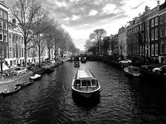 Herengracht (Renate S.) Tags: blackwhite schiffe river water gracht canal boat amsterdam