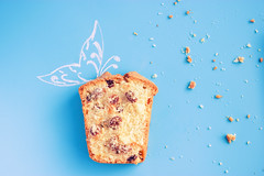 muffin on blue background (lijphoto) Tags: blue background muffin cupcake cake dessert fresh food delicious birthday year bakery homemade snack gourmet bake 1 sweet anniversary wooden nobody tasty breakfast pastry pie party blueberry fruit celebration holiday closeup copyspace space berry cupcakes copy sketch recipe painting white raisin butterfly