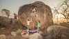 sunset action (sami kuosmanen) Tags: photography people travel girl nainen woman india intia hampi hauska asia flash funny fun climbing colorful creative bouldering boulder boulderointi kiipeily rock rockclimbing man shirtless mies maisema landscape luonto nature sky taivas tree talvi sunset