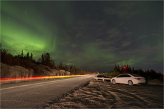 Enterprise, NWT, Canada (richardsercombe) Tags: yellowknife hay river enterprise northern lights road car night sky light trails