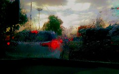 March Rain (camaee29) Tags: rain nature season march cars drops water travel angle nissan india patiala street red lights abstract weather clouds traffic splash green morning city colour highway wet hyundai road reflection